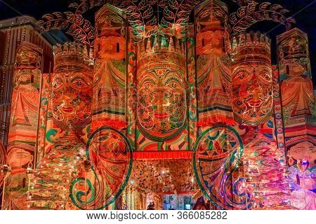 Night Image Of Decorated Durga Puja Pandal, Durga Puja Is Biggest Religious Festival Of Hinduism. Sh