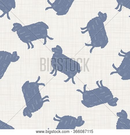 Seamless French Farmhouse Sheep Butcher Pattern. Farmhouse Linen Shabby Chic Style. Hand Drawn Rusti