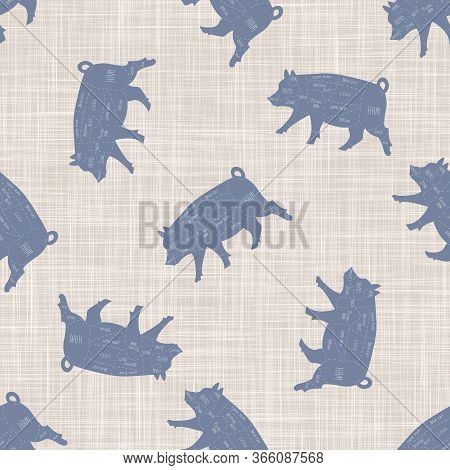 Seamless French Farmhouse Pig Butcher Chart Pattern. Farmhouse Linen Shabby Chic Style. Hand Drawn R