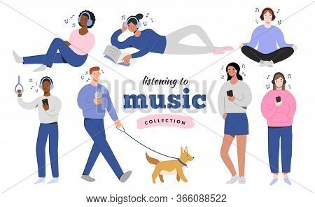 Young People In Headphones Listening To Music At Home, Doing Yoga, In The Street Walking A Dog, Joyf