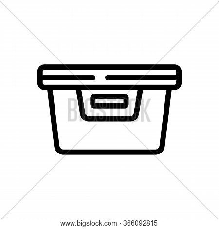 Plastic Food Container With Handle Icon Vector. Plastic Food Container With Handle Sign. Isolated Co
