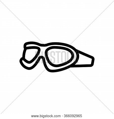 Oval Protective Diving Goggles Icon Vector. Oval Protective Diving Goggles Sign. Isolated Contour Sy