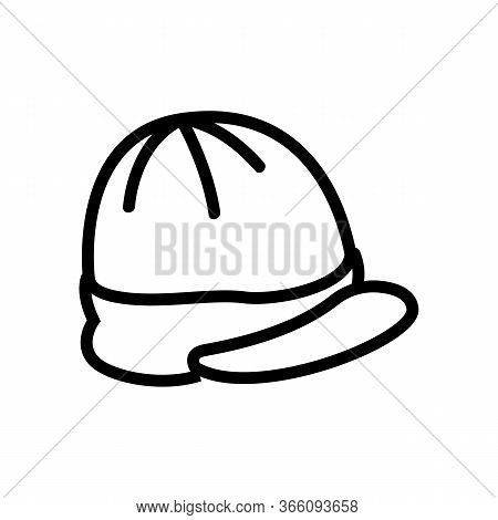 Cap With Visor Top View Icon Vector. Cap With Visor Top View Sign. Isolated Contour Symbol Illustrat