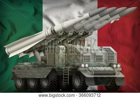 Tactical Short Range Ballistic Missile With Arctic Camouflage On The Mexico Flag Background. 3d Illu