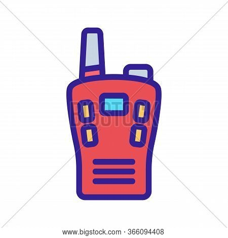 Compact Multi-button Walkie Talkie Icon Vector. Compact Multi-button Walkie Talkie Sign. Color Symbo