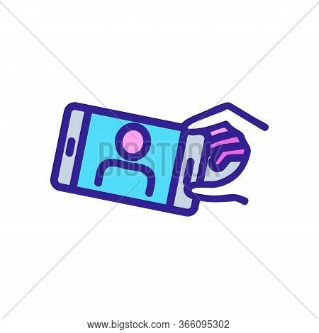 Showing Person Selfie On Phone Icon Vector. Showing Person Selfie On Phone Sign. Color Symbol Illust