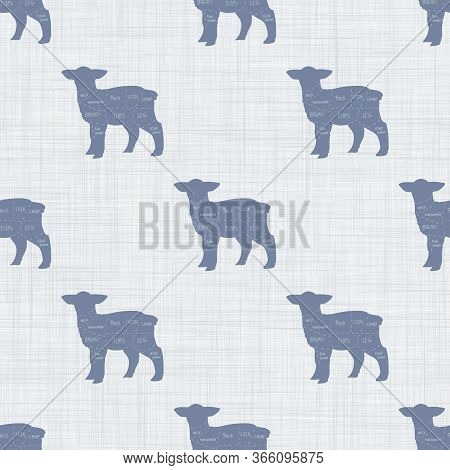 Seamless French Farmhouse Lamb Butcher Chart Pattern. Farmhouse Linen Shabby Chic Style. Hand Drawn