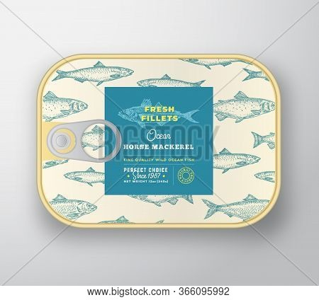 Canned Fish Label Template. Abstract Vector Aluminium Container With Label Cover. Packaging Design.