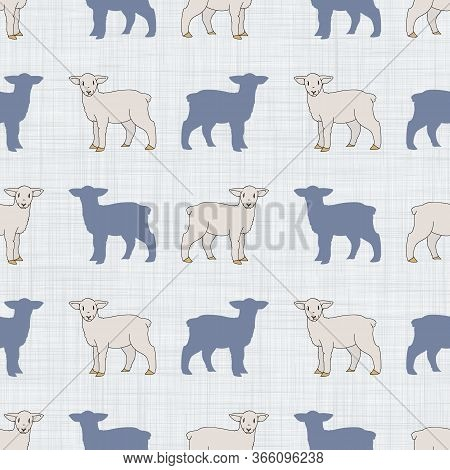 Seamless French Farmhouse Lamb With Silhouette Pattern. Farmhouse Linen Shabby Chic Style. Hand Draw
