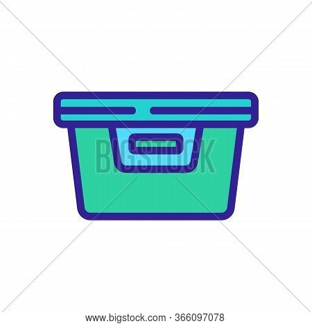 Plastic Food Container With Handle Icon Vector. Plastic Food Container With Handle Sign. Color Symbo