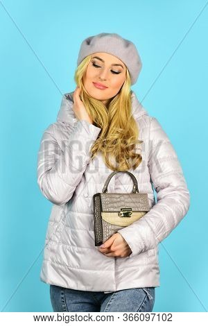 Female Wear Beret. Handbag Or Purse Accessories. Accessories Shop. Trendy Girl Holding Small Bag. Sh