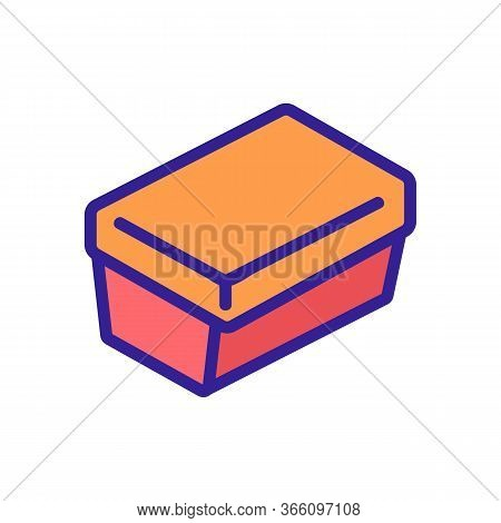 Rectangular Lunch Box Icon Vector. Rectangular Lunch Box Sign. Color Symbol Illustration