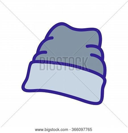 Wide Lapel Beanie Icon Vector. Wide Lapel Beanie Sign. Color Symbol Illustration