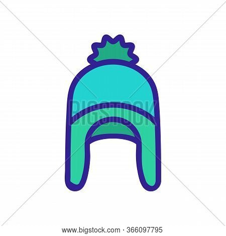 Hat With Ear Flaps Icon Vector. Hat With Ear Flaps Sign. Color Symbol Illustration