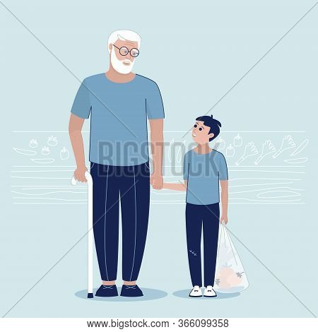 Grandson Helps Grandfather With Purchases In The Market. Grandfather And Grandson Are Holding Hands.