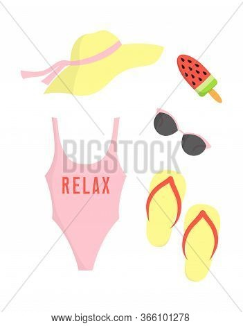 Summer Card With Beach Clothes Isoleted On White Background, Set With Beach Hat, Glasses, Icecream,