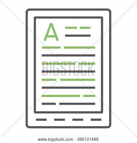 E Book Reader Color Line Icon, Education And School, Digital Book Sign Vector Graphics, A Linear Ico