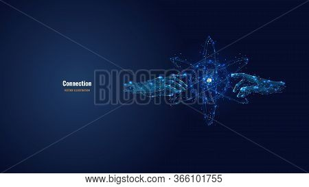 Futuristic Image Of Hands Touching Abstract Technology Circles With Global Connection Lines. Vector
