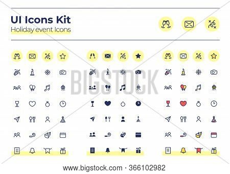 Holiday Events Ui Icons Kit. Party Calender Thin Line, Glyph And Color Vector Symbols Set. Birthday,