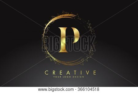 P Golden Letter Logo With Golden Sparkling Rings And Dust Glitter On A Black Background. Luxury Deco