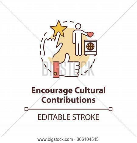 Encourage Cultural Contribution Concept Icon. Multi Racial Group. Multi Ethnic Community. Cultural D
