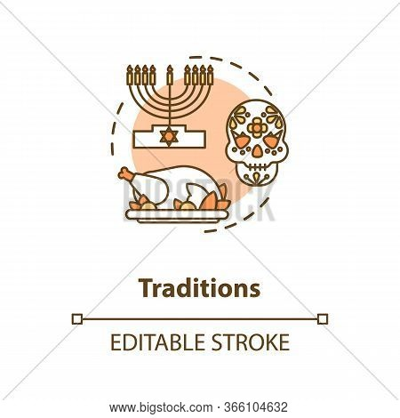 Tradition Concept Icon. National Heritage. Different Historical Customs. Religious Holiday. Cultural