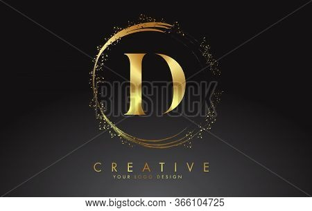 D Golden Letter Logo With Golden Sparkling Rings And Dust Glitter On A Black Background. Luxury Deco