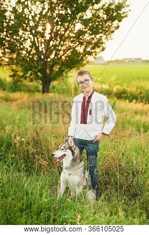 Ukraine's Independence Day. Child Boy In An Embroidered Shirt In Field With Husky Dog. Ukraine In Fi