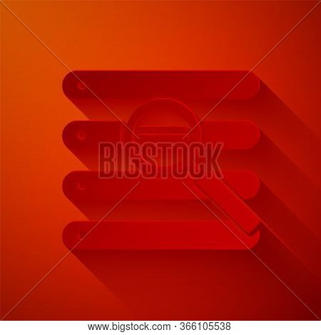 Paper Cut Search In A Browser Window Icon Isolated On Red Background. Paper Art Style. Vector