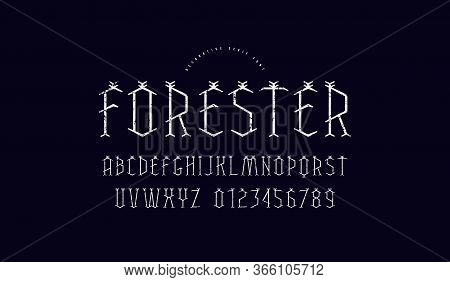 Decorative Geometric Serif Font. Letters And Numbers With Vintage Texture For Mystery And Nature Log