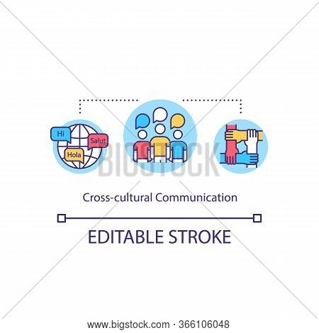 Cross Cultural Communication Concept Icon. Global Multicultural Community. Language Exchange. Cultur