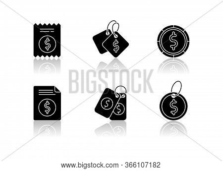 Price Tags Drop Shadow Black Glyph Icons Set. Label For Purchased Merchandise. E Commerce And Distri