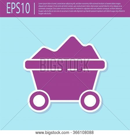 Retro Purple Coal Mine Trolley Icon Isolated On Turquoise Background. Factory Coal Mine Trolley. Vec