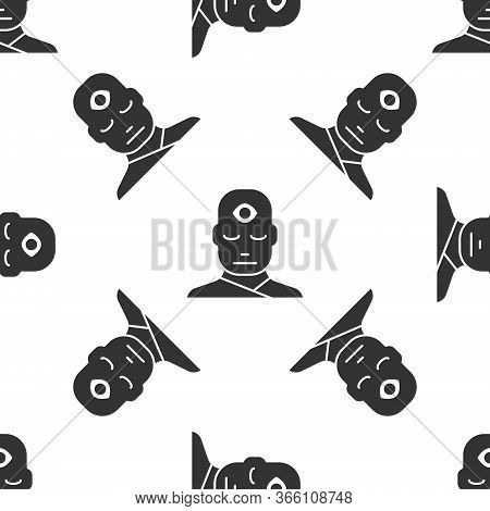 Grey Man With Third Eye Icon Isolated Seamless Pattern On White Background. The Concept Of Meditatio