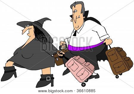 Traveling witch and vampire