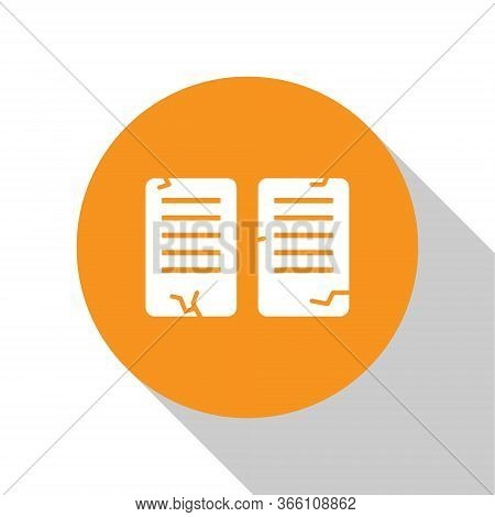 White The Commandments Icon Isolated On White Background. Gods Law Concept. Orange Circle Button. Ve