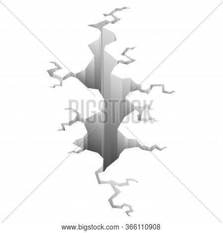 Earthquake Crack. Hole In Ground With Cracking And Earth Destruction Cracks Isolated Vector Cartoon.