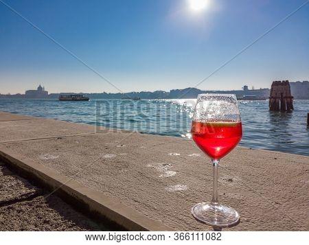 The Glass Of Aperitif In Venice, Italy