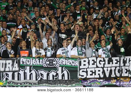 Borussia Monchengladbach Team Supporters Show Their Support