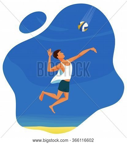 Beach Volleyball Player In Sports Shorts And White T-shirt Is Going To Hit The Ball In A Jump. Jump