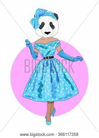 Fashion Animal Illustrations, Anthropomorphic Design, Furry Art, Hand-drawn Illustration Of A Dresse