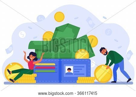 Tiny Man And Woman With Big Open Wallet Flat Vector Illustration. Happy Isolated Cartoon Characters
