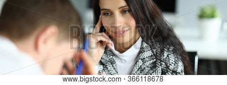 Woman Listens Attentively To An Upset Office Employee. Analysis Sensory Information. Instructions An