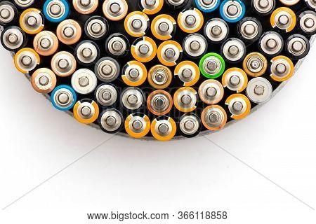 Used Alkaline Batteries Aa Size Format Of Different Brands Lying In A Rows
