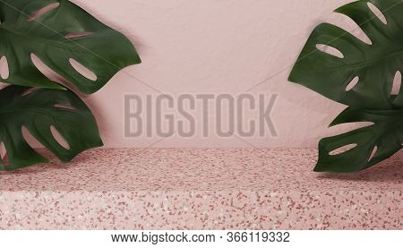 3d Terrazzo Pedestal Display Pastel Pink Stone. Monstera Palm Leaf On Beige Pink Background With Cop