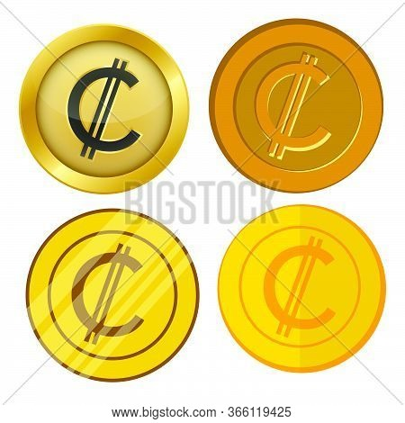 Four Different Style Gold Coin With Colon Currency Symbol Vector Set