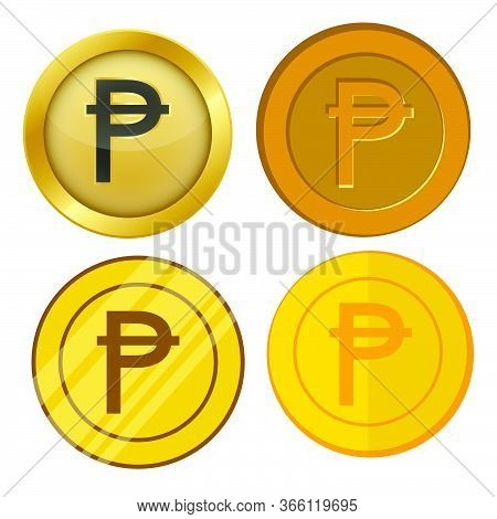 Four Different Style Gold Coin With Peseta Currency Symbol Vector Set