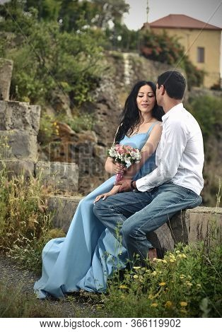 Young Couple Kissing, Wedding Couple Kissing, Bride And Groom Kissing, Blue Dressed Bride
