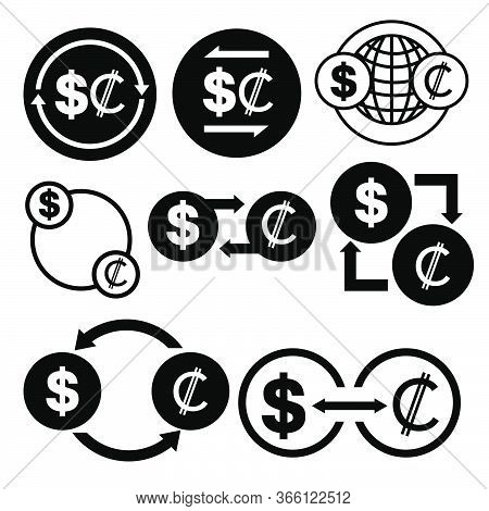 Black And White Money Convert Icon From Dollar To Colon Vector Bundle Set