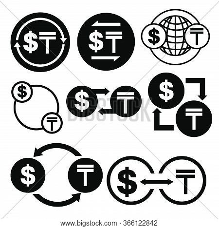 Black And White Money Convert Icon From Dollar To Tenge Vector Bundle Set